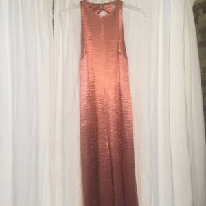 Copper Rose Gold silky wide legged jumpsuit